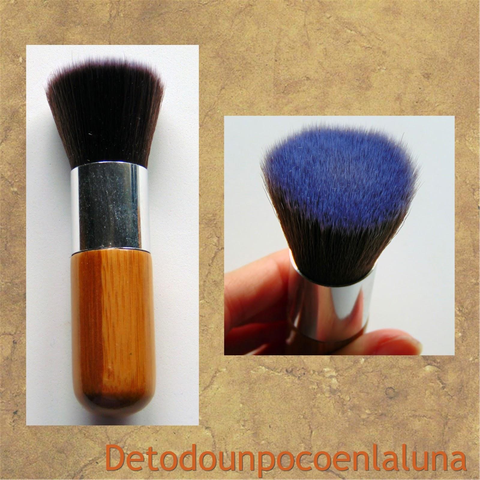 Set 11 brochas de maquillaje de bambú de Buyincoins kabuki plana