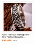 100% Retro 925 Sterling Silver Ring