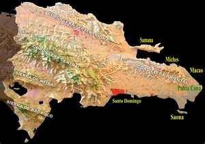Mapa de República Dominicana, cordilleras