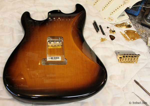new fender stratocaster body prior to drilling screw holes. Black Bedroom Furniture Sets. Home Design Ideas