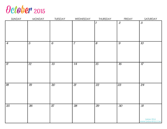 of October 2015 Blank Calendar printable templates. October 2015 ...