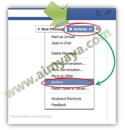 Gambar: Membuat pesan inbox menjadi archive (arsip) facebook