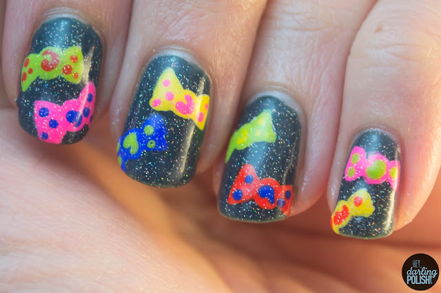 nails, nail art, nail polish, candy, hey darling polish, pomegranate lacquer storm the castle, china glaze fairy dust, christmas winter challenge
