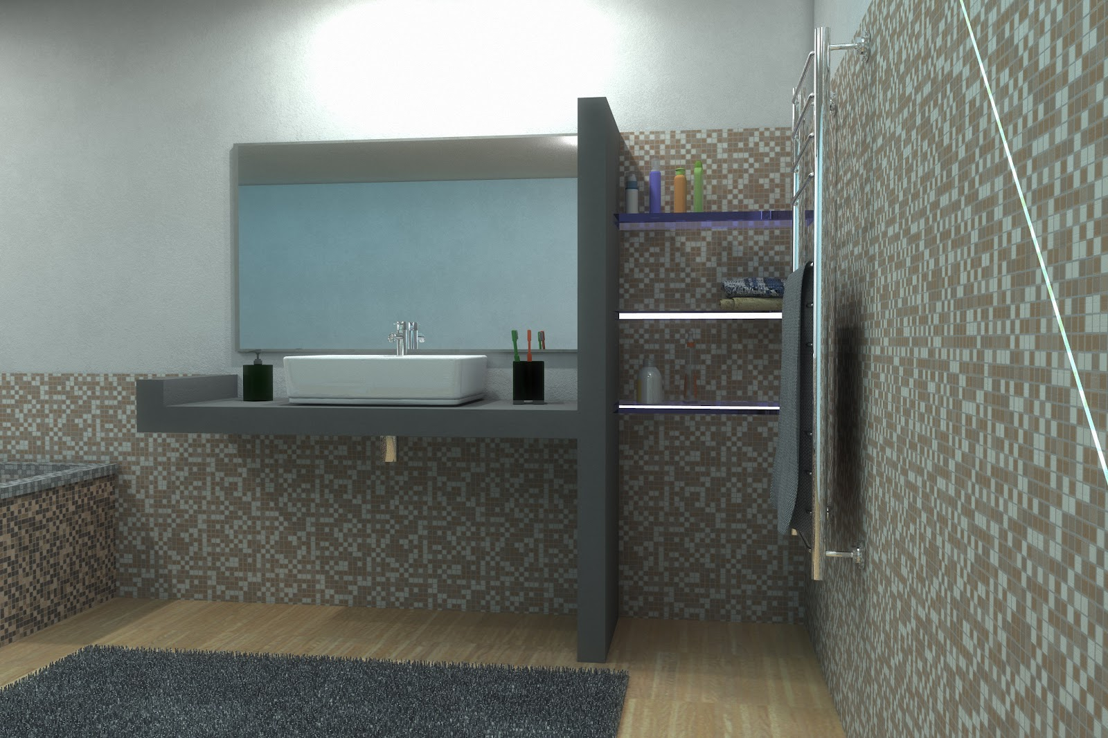 Bagno In Resina E Mosaico. Bagno. Rectangle Square Sinks From ...