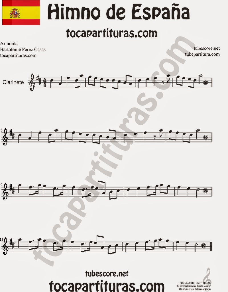 Himno Nacional Español Partitura de Clarinete Sheet Music for Clarinet Music Score
