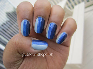 blue, gradient, blue nail polish, stripes, vertical stripes