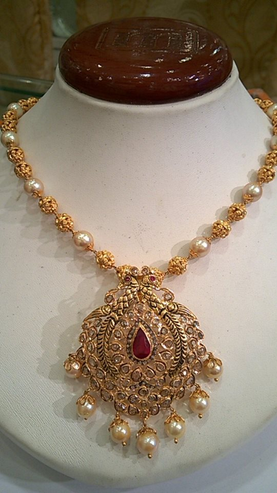 Ruby emerald beeds and south sea pearls mixed ball chains SUDHAKAR