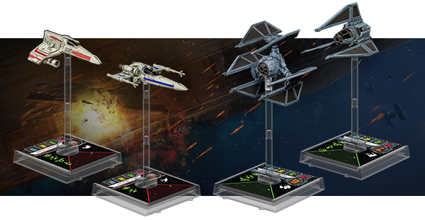 E-wing, Z-95 Headhunter, TIE defender, and TIE phantom