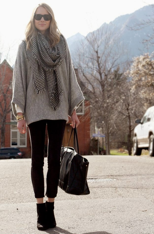 Fall Outfit grey poncho sweater, black suede pants, black wedge booties, black grey houndstooth scarf, black leather tote, silver state...