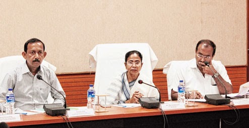 Mamata at the meeting with officials and ministers at Uttarkanya