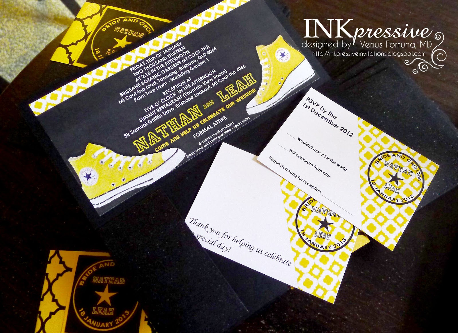 Black and yellow chuck taylor wedding invitation for 4x8 wedding invitations