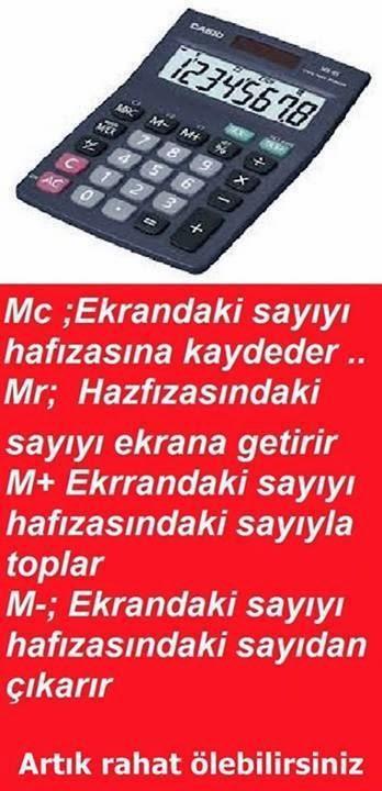 Hesap Makinesi MC MR M+ M- Tuşları