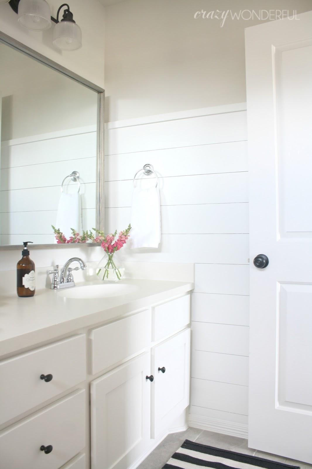 Crazy wonderful shiplap girl 39 s bathroom reveal for Bathroom ideas with shiplap