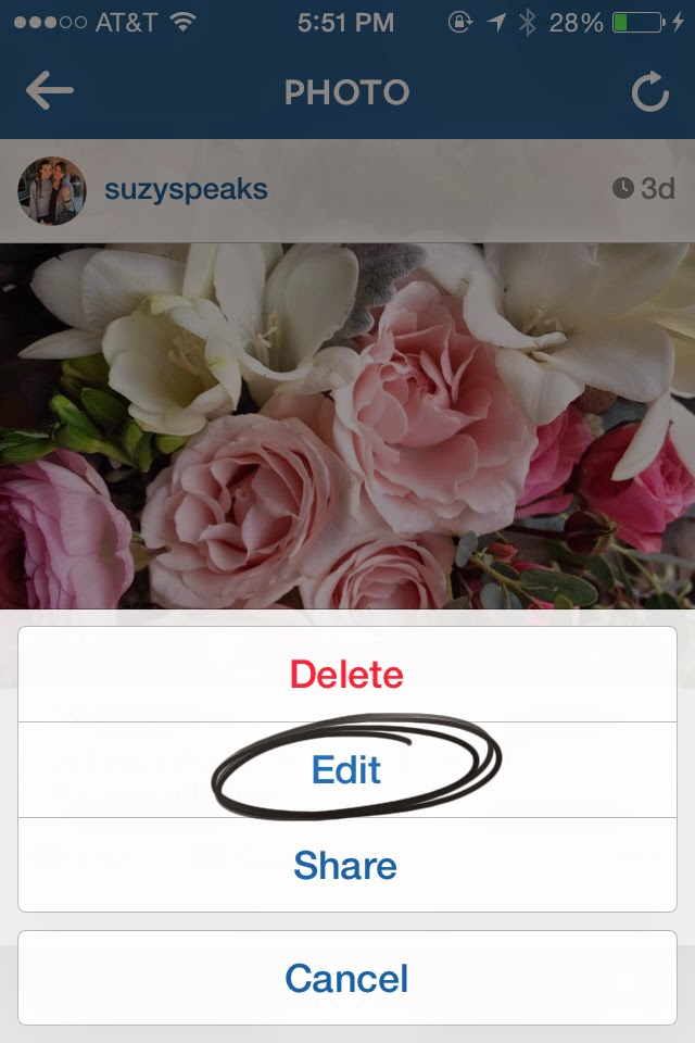 how to edit instagram caption