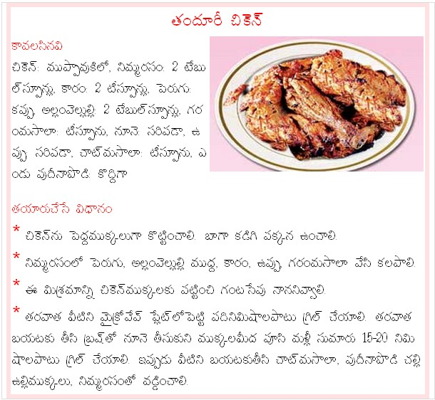 Mana vuri vantalu thandhoori chicken recipe in telugu thandhoori chicken recipe in telugu forumfinder Choice Image