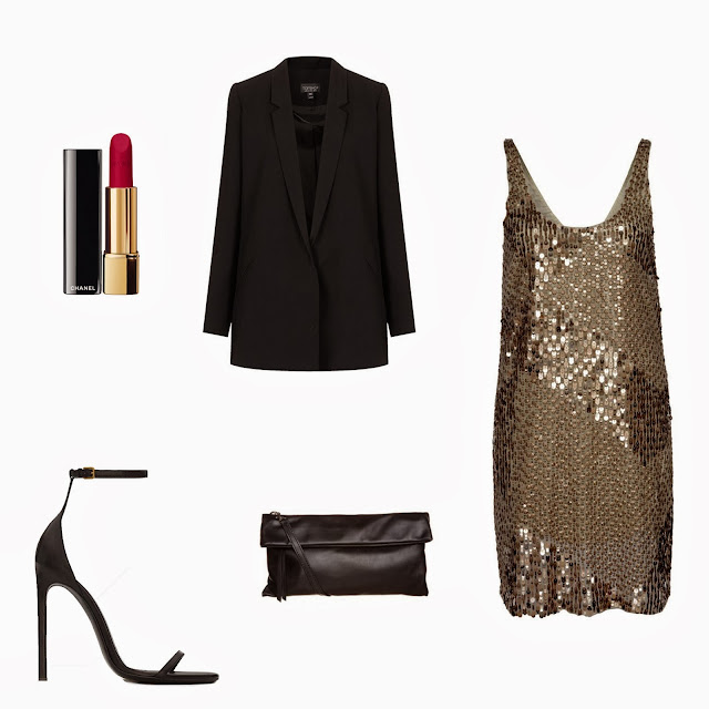 Zalando gold golden dress, YSLstrappy  heels, Topshop blazer, Chanel red lipstick, fashion blogger, styleblog  blogger, expensive new years eve outfit, cheap vs expensive party outfit, styling, look