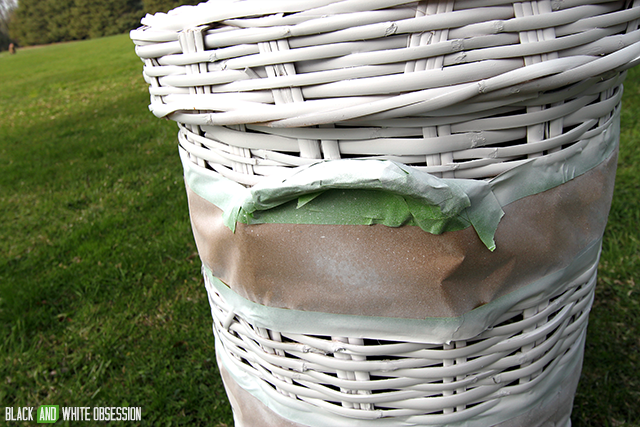 How to Makeover a Wicker Laundry Hamper: Spray Painted | www.blackandwhiteobsession.com