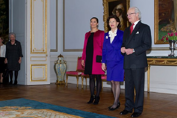 "King Carl XVI Gustaf of Sweden opened an exhibition called ""In Course of Time - 400 years of royal clocks"" with an opening ceremony attended by Queen Silvia, Crown Princess Victoria, Princess Christina and Mrs. Magnuson."