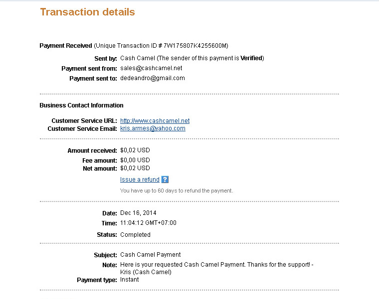 CashCamel Payment December 2014