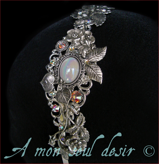 Serre Tête Floral Mariage Blanc Opale Irisé Cristal Accessoire Coiffure Mariée
