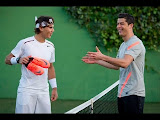 RAFAEL NADAL Y CRISTIANO RONALDO JUGANDO AL FUTBOL-TENIS