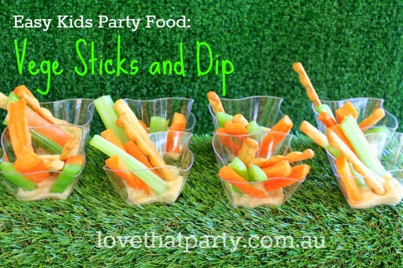 Easy and healthy kids party food with a dip that will have the kids coming back for more! via Love That Party.