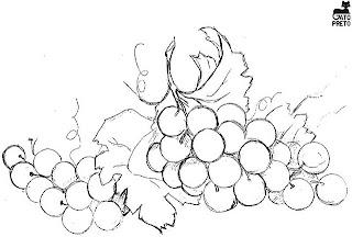 Risco para pintura em tecido,  uvas