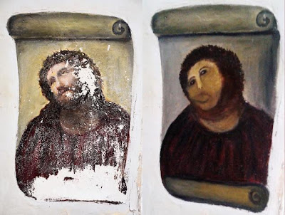 19th century fresco by painter Elias Garcia Martinez before and after botched DIY restoration attempt by 81 year old woman with best of intentions
