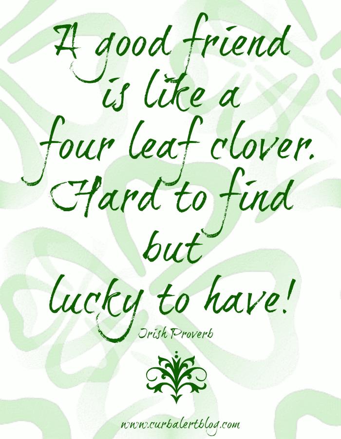 Four Leaf Clover St Patricks Day Irish Proverb