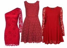 vestidos encaje rojos