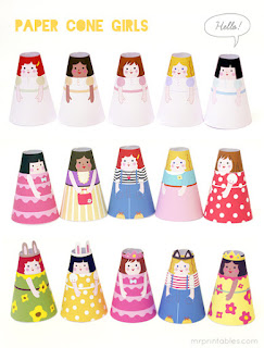 Bonecas cone de papel imprimir e montar