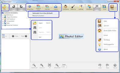 Principais botões da interface do Photo! Editor