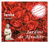"""Selo comemorativo do 1º Aniversário do blog """"JARDINS de AFRODITE""""."""