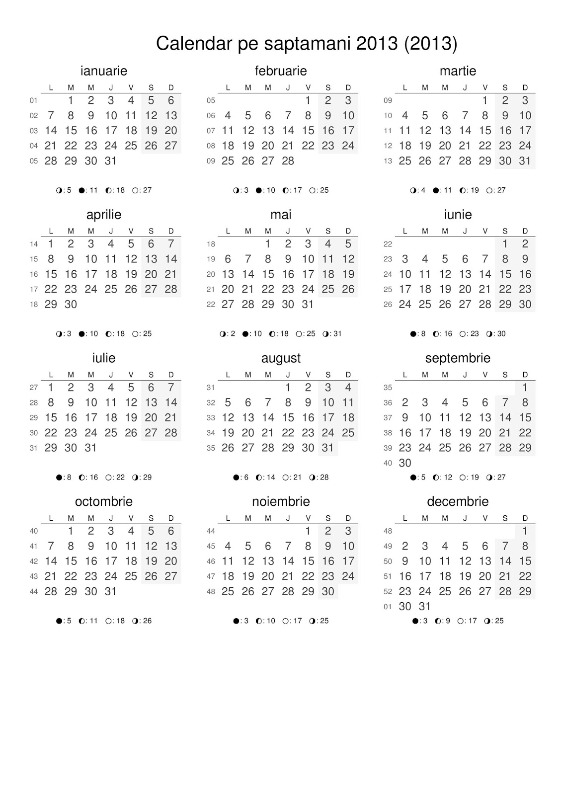 Calendar 2016 De Printat Romana | Calendar Template 2016