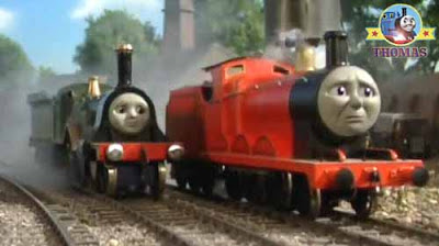 Thomas James the really splendid engine quickly puffed away the Island of Sodor water tower station