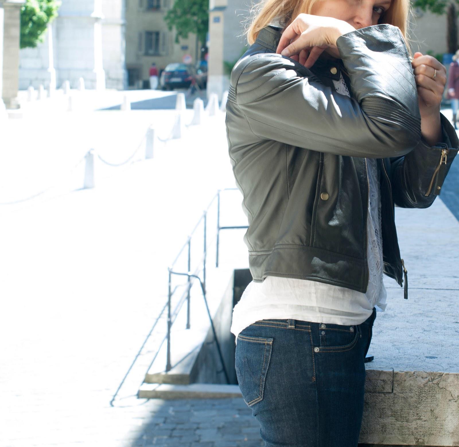 Biker, Max&Co, lace up heels, BIker jacket, Biker jacket in color, sergio Rossi heels, Maxandco jacket, AG jeans the stilt