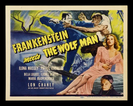 horror movie, movies, vintage, vintage posters, theater, free download, graphic design, retro prints, classic posters, Frankenstein Meets The Wolf Man - Vintage Horror Movie Poster