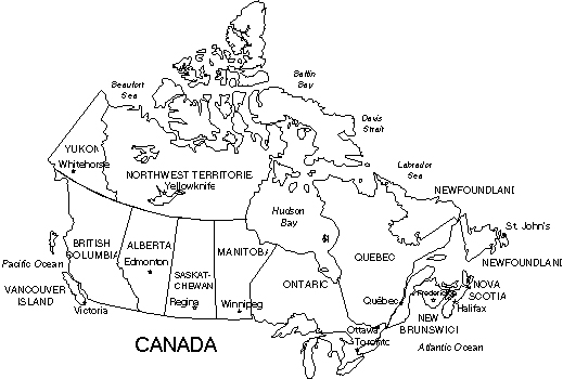 Map Of Canada Blackwhite Outline With Text Names Each Province
