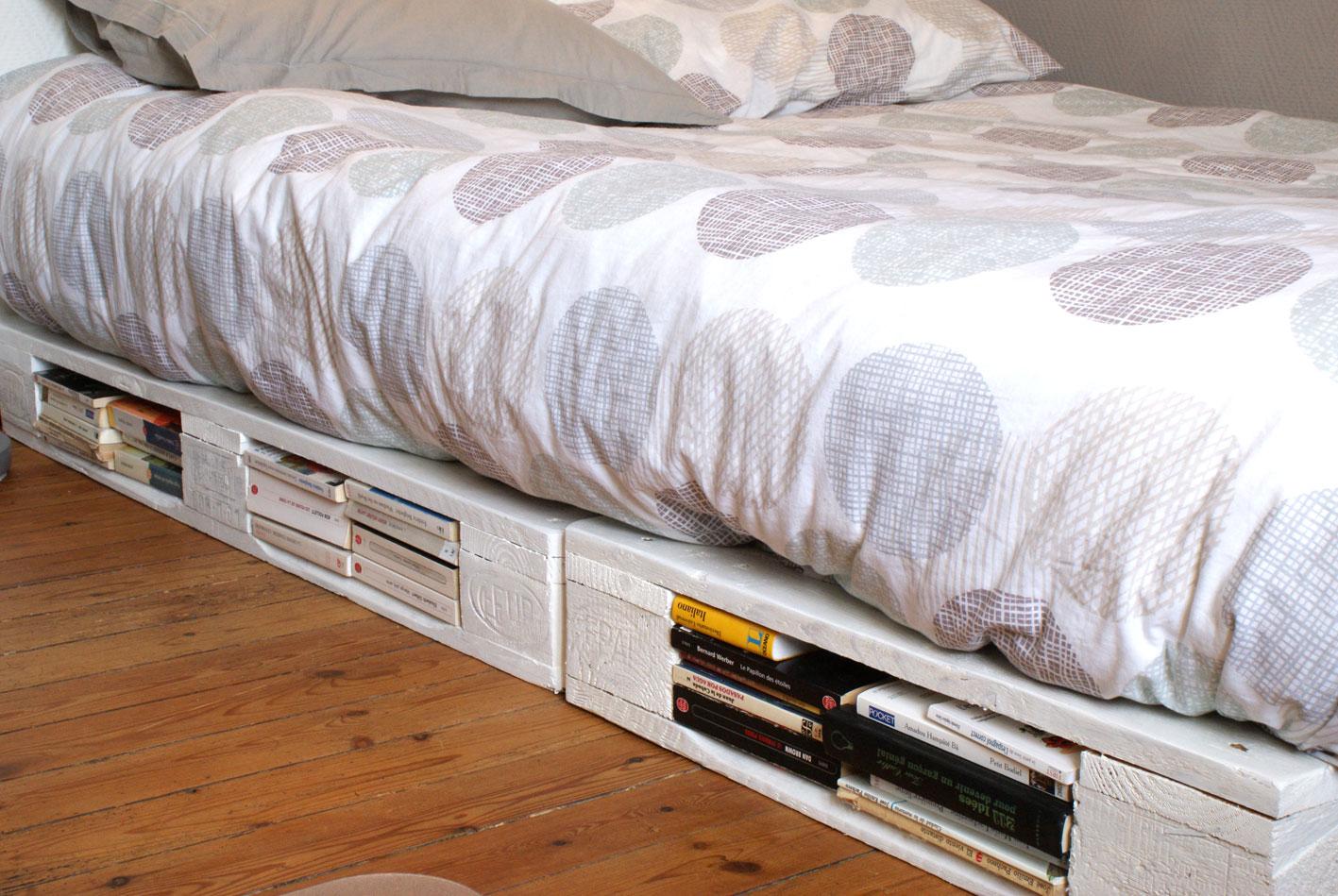 un cadre de lit à base de palettes - mademoiselle je sais tout