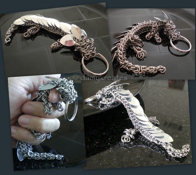my pet dragon My very own pet dragon isn't he the cutest this is my first try at multi-weave, semi-free form chainmaille multi-weave for the combination of dragonback, byzantine, box, and mobius semi-free form for improvising the neck and adding the paws.
