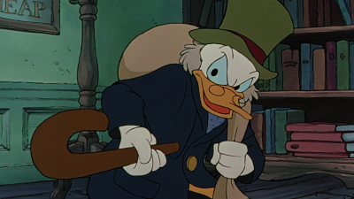 Donald Duck's nephew, Scrooge McDuck, stars as his namesake and idol, Ebenezer Scrooge, in 1983's MICKEY'S CHRISTMAS CAROL