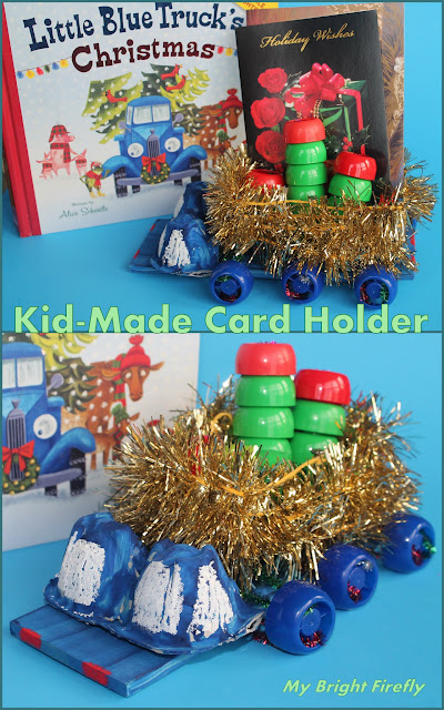 Little blue truck's christmas card holder