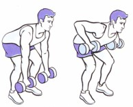Two Hand Dumbbell Lunge Row