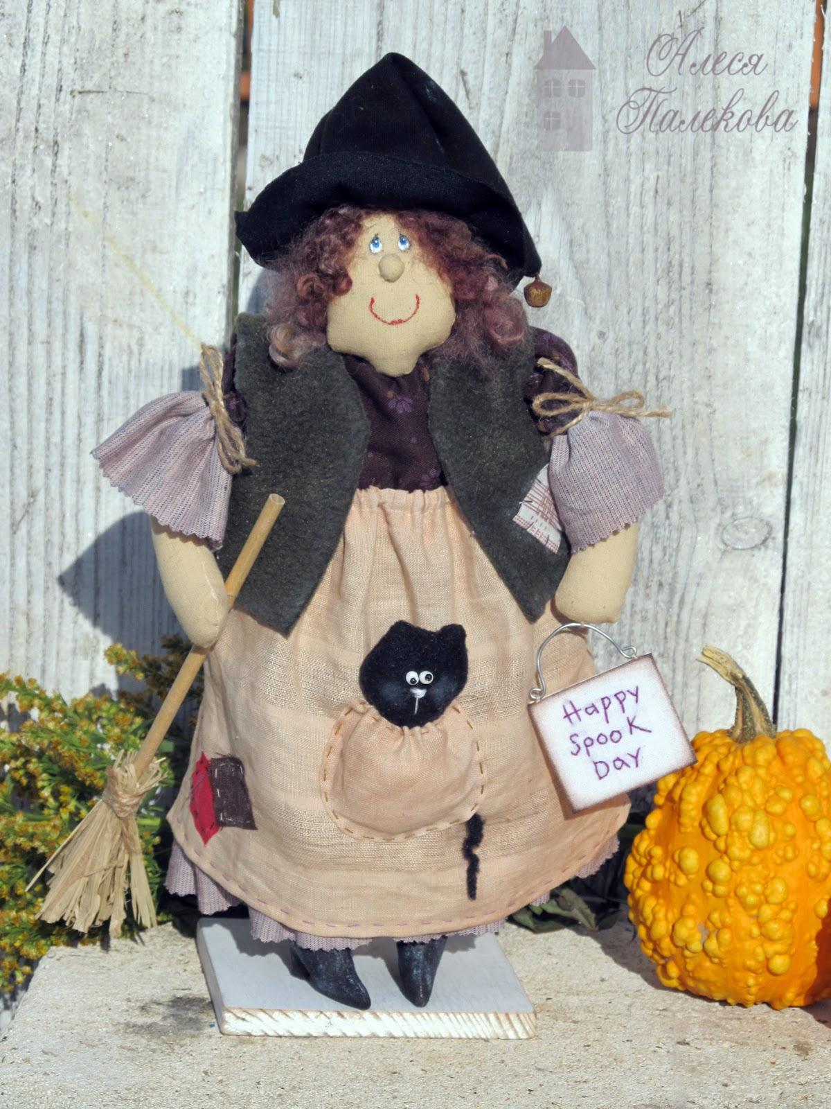 кукла, ведьмочка, хэллоуин, happy spook day, тыквы, выкройка, Halloween