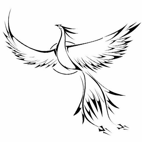 Phoenix flying tattoo stencil