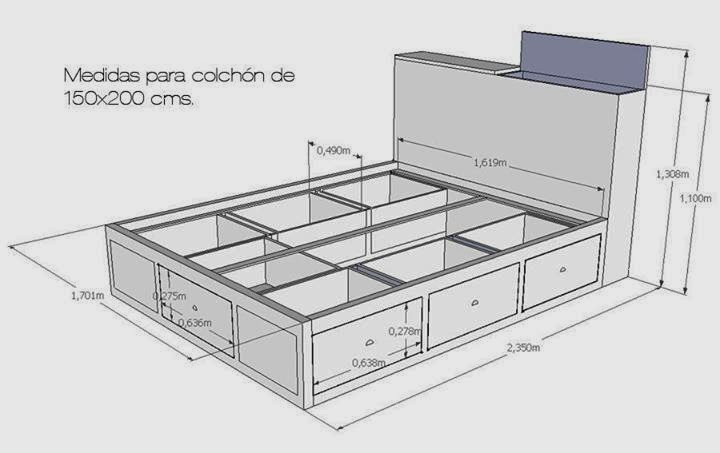 Camas matrimoniales multifunci n construccion y for Base para cama king size medidas