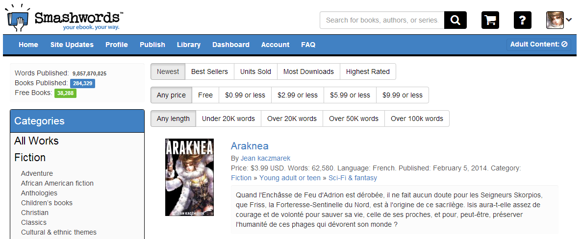 novel fantasy ARAKNEA on SmashWords