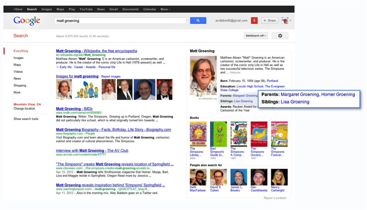 Google knowledge graph additional information