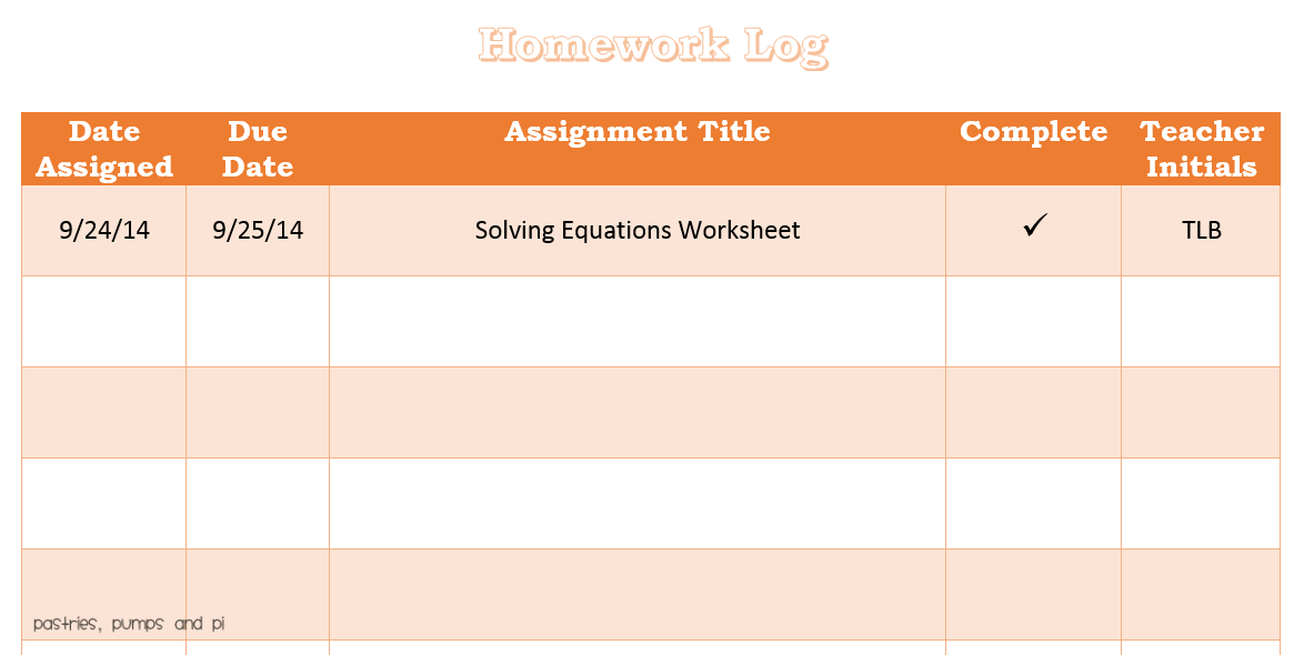 free printable homework log