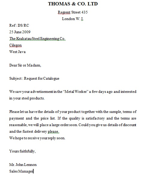 The Final Episode Inquiry Letter Of English Business Letter